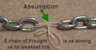 A thought chain is as strong as it's weakest link. Add one assumption and you can prove anything.
